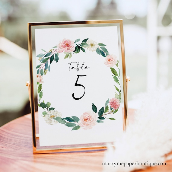 Table Number Template, Blush Floral Greenery, Editable Wedding Table Number Sign Printable, Templett INSTANT Download