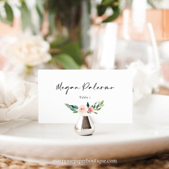 Wedding Place Card Template, Blush Floral Greenery Wreath, Editable Flat & Tent Place Cards, Printable, Templett INSTANT Download
