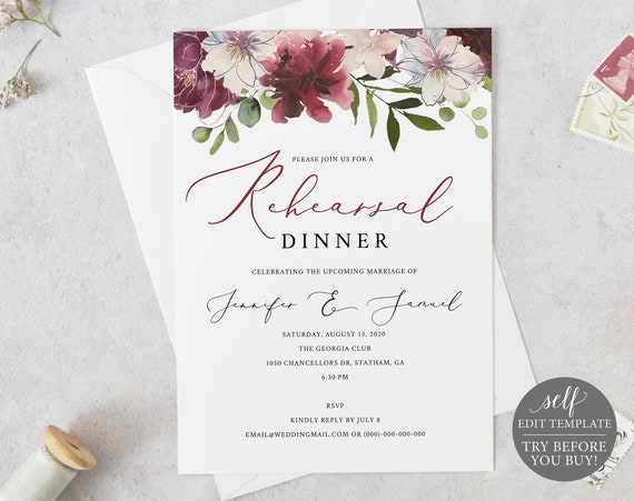 Rehearsal Dinner Template, Printable Rehearsal Invite, 100% Editable, Instant Download, Self-Edit, Burgundy Floral, TRY BEFORE You BUY