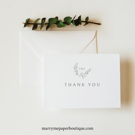 Thank You Card Template Folded, Elegant Monogram, Try Before Purchase, Editable & Printable, Templett Instant Download