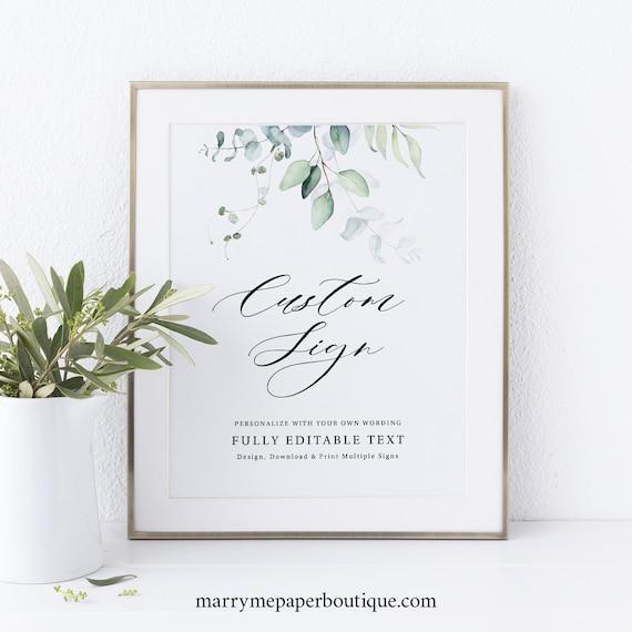 Wedding Sign Bundle Template, Green Leaves, Editable Greenery Wedding Signs, Printable, Templett INSTANT Download