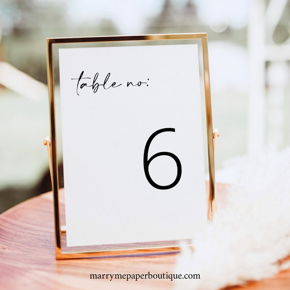 Table Number Sign Template, Modern Minimalist, Handwritten Style, Wedding Table Number Sign, Printable, Editable, Templett INSTANT Download