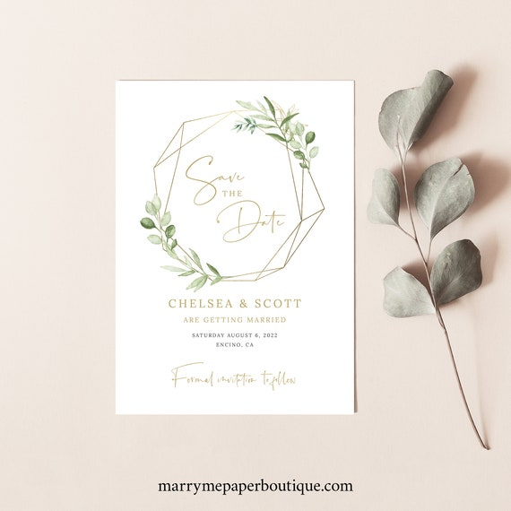 Save the Date Card Template, Greenery Gold, Editable & Printable, Instant Download, Templett, Try Before Purchase