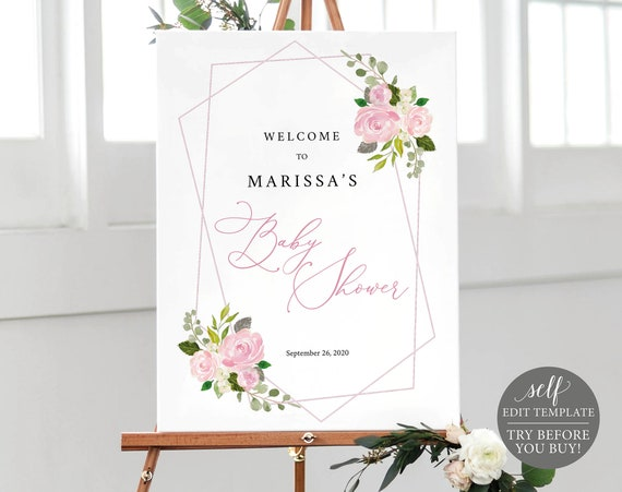 Baby Shower Welcome Sign Template, 100% Editable Poster Printable, Instant Download, TRY BEFORE You BUY