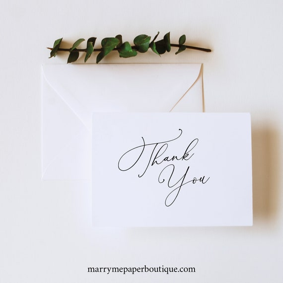 Calligraphy Thank You Card Template, Folded, Elegant Wedding Thank You, Printable, Fully Editable, Templett INSTANT Download
