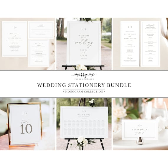 Wedding Template Bundle, Monogram & Border, Wedding Bundle Kit, Wedding Stationery Bundle, Printables, Templett INSTANT Download