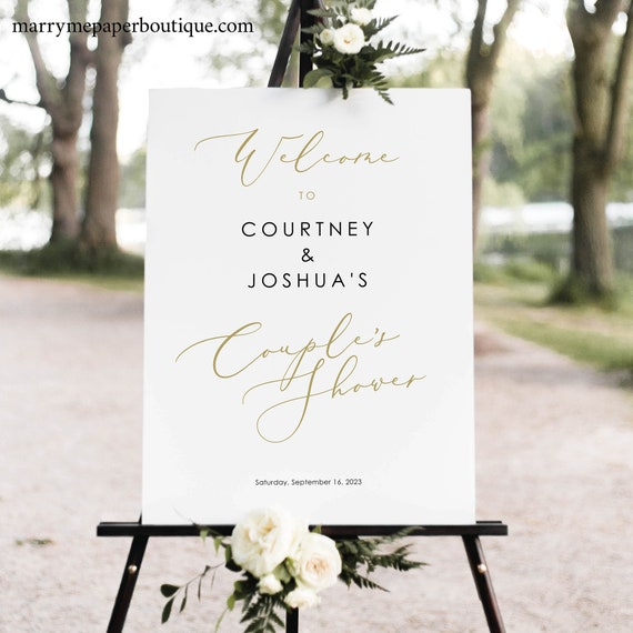 Couples Shower Welcome Sign Template, Elegant Gold Script, Couple's Shower Sign Printable, Templett, Editable, INSTANT Download