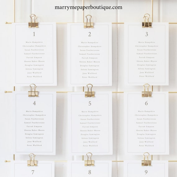 Seating Cards Template, Monogram & Border, Elegant Seating Chart Cards, Printable, Fully Editable, Templett INSTANT Download