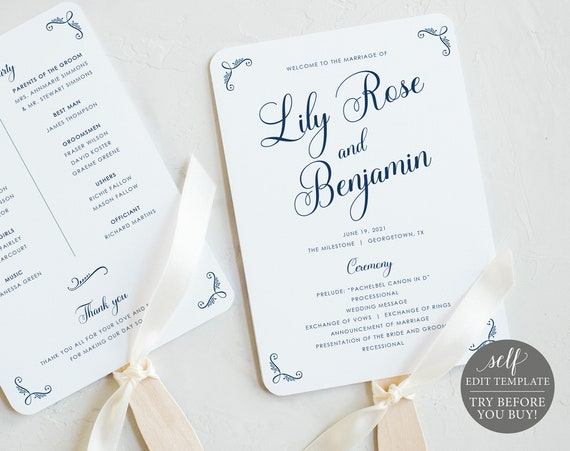 Wedding Program Fan Template, Rustic Navy, 100% Editable Instant Download, TRY BEFORE You BUY