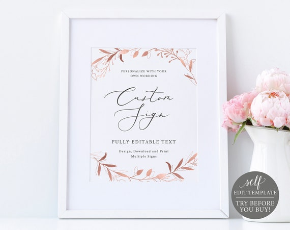 Create Multiple Signs Template, TRY BEFORE You BUY, 100% Editable Instant Download, Rose Gold
