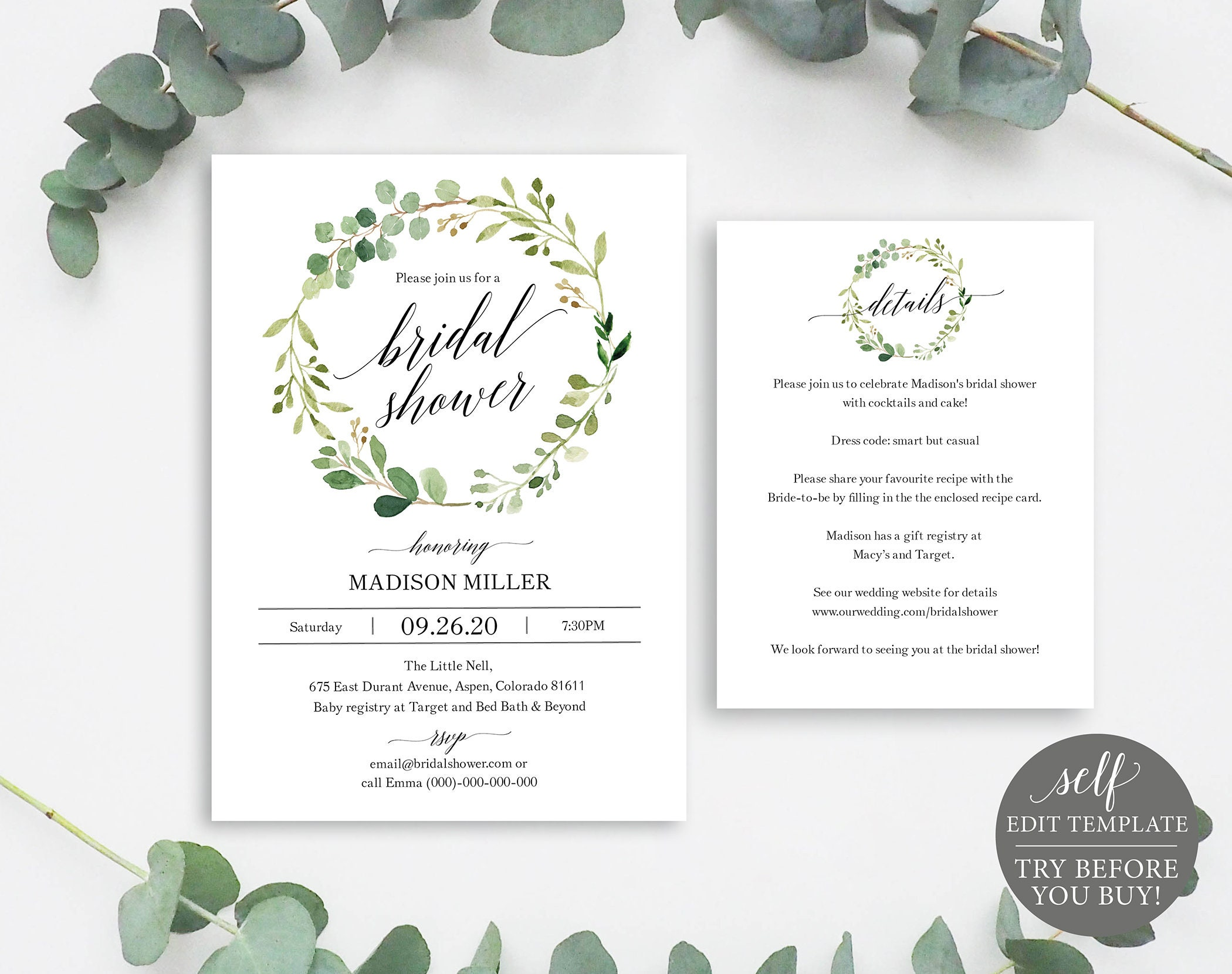 greenery bridal shower invitation set template printable bridal shower set garden bridal shower details card instant download