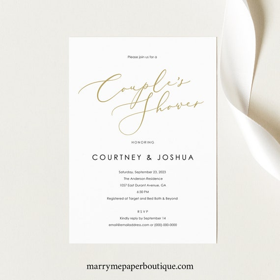 Couples Shower Invitation Template, Elegant Gold Script, Printable Shower Invite, Editable, Templett, INSTANT Download