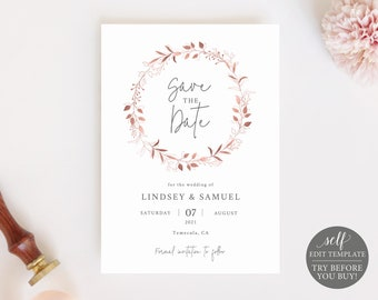 Save the Date Template, Fully Editable Instant Download, Rose Gold Wreath, TRY BEFORE You BUY