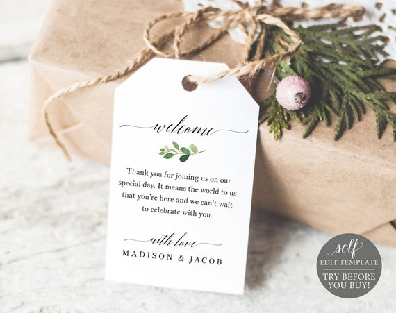 Welcome Favor Tag Template, TRY BEFORE You BUY, Greenery Wedding Tag Printable, Fully Editable, Instant Download