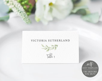 Place Card Template, Greenery Leaves,  Editable Instant Download, TRY BEFORE You BUY