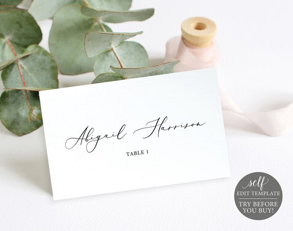 Wedding Place Cards Template, 100% Editable Wedding Seating Cards, Instant Download, Printable Escort Cards, TRY BEFORE You BUY