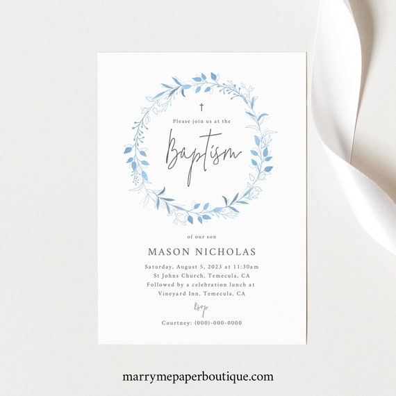 Baptism Invitation Template, 5x7, Light Blue Wreath, Order Edit & Download In Minutes, Try Before Purchase