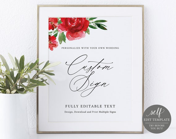 Create Multiple Signs Template, 8x10 Red Floral, Editable Instant Download, Free Demo Available