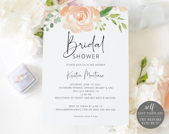 Bridal Shower Invitation Template, Peach Floral, Fully Editable Instant Download, TRY BEFORE You BUY