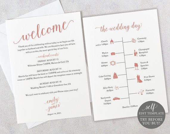 Wedding Itinerary Card Template, Free Demo Available, Editable Instant Download, Modern Rose Gold