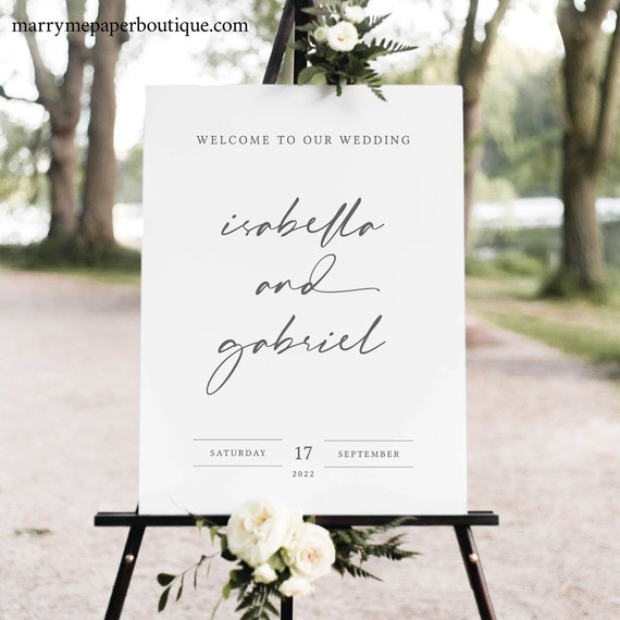 Wedding Welcome Sign Template, Handwritten Style Font, Instant Download, Editable & Printable, Try Before You Buy,Templett