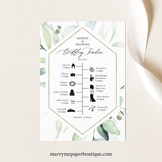 Wedding Itinerary Card Template, Classic Greenery, Wedding Timeline Card, Printable, Templett INSTANT Download, Editable