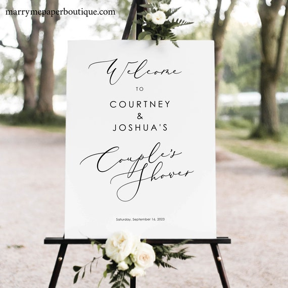 Couples Shower Sign Template, Elegant Script, Couples Shower Welcome Sign, Printable, Pretty Font, Templett, Editable, INSTANT Download