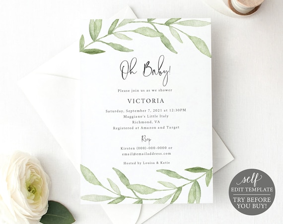 Baby Shower Invitation Template, TRY BEFORE You BUY, Greenery Leaves, Editable Instant Download