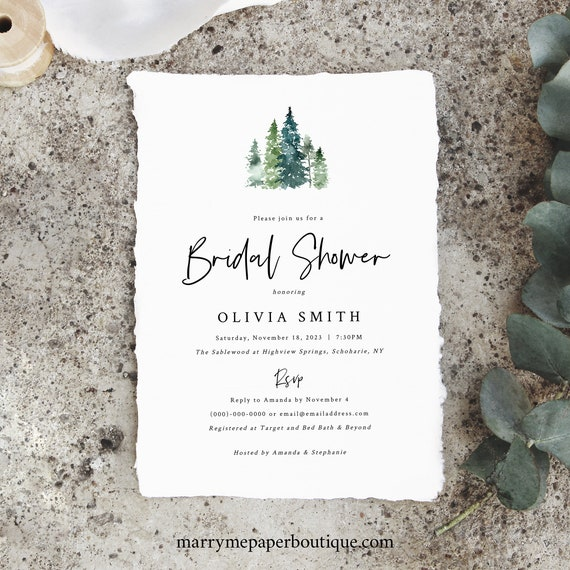 Pine Forest Bridal Shower Invitation Template, Rustic Pine Trees, Printable Bridal Shower Invite, Templett Editable, INSTANT Download