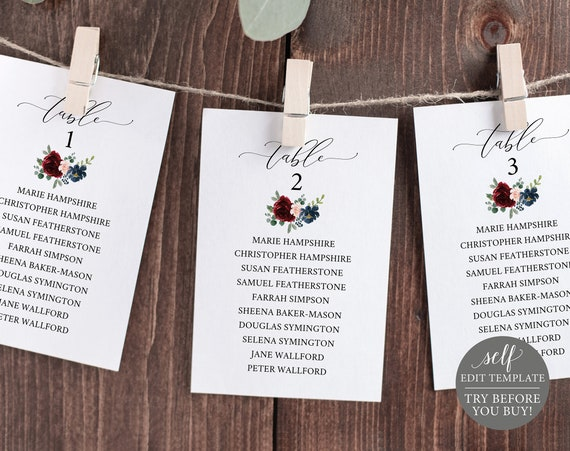 Wedding Seating Cards Template, Burgundy, Printable Editable Instant Download, Demo Available
