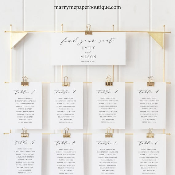 Seating Chart Sign Template, TRY BEFORE You BUY, Formal & Elegant,  Editable Instant Download
