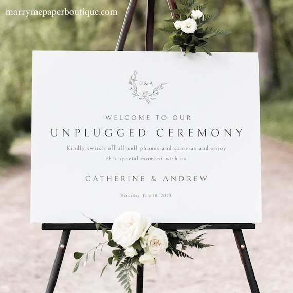 Unplugged Ceremony Sign Template, Templett Instant Download,  Editable & Printable Sign, Try Before Purchase, Elegant Monogram