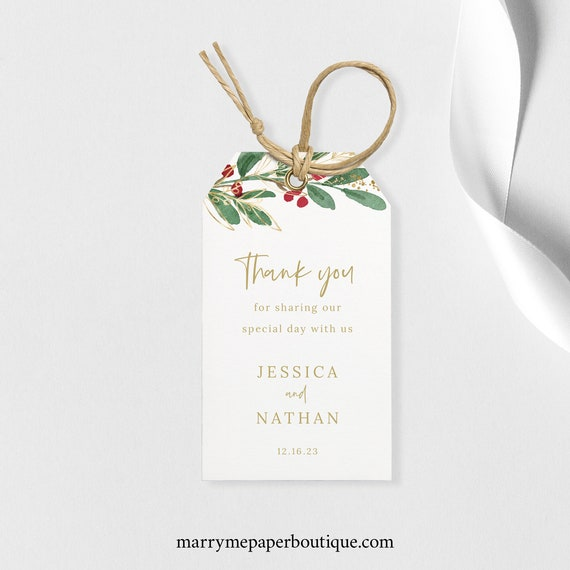 Winter Wedding Gift Tag Template, Editable Christmas Wedding Favor Tag, Printable, Templett, INSTANT Download