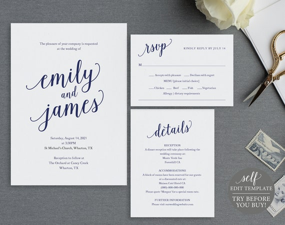 Navy Wedding Invitation Set Templates, 100% Editable Instant Download, TRY BEFORE You BUY