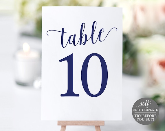 Navy Wedding Table Numbers Template, Printable Table Numbers, Navy Table Numbers, Editable Wedding Printable, Instant Download