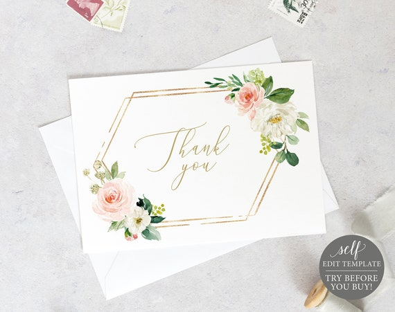Thank You Card Template, Fold, Blush Floral Hexagonal, Editable Instant Download, TRY BEFORE You BUY