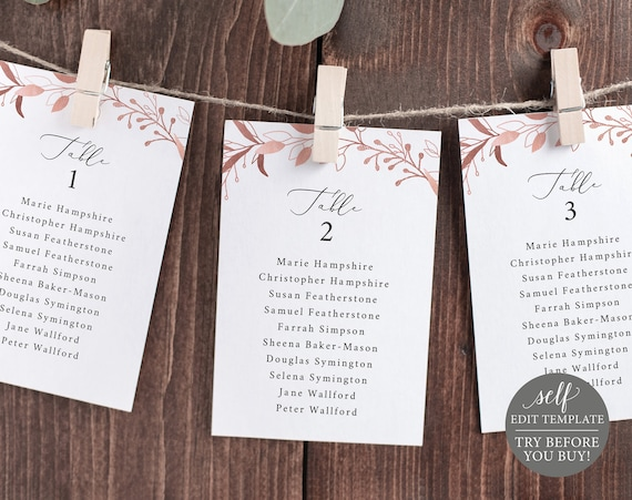 Wedding Seating Chart Template, Rose Gold Leaves, Editable Instant Download, TRY BEFORE You BUY