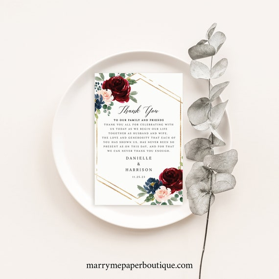 Thank You Letter Template, Burgundy Navy, Wedding Thank You Note, Printable, Templett INSTANT Download, Editable