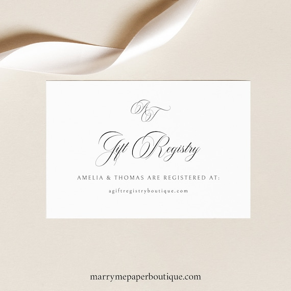 Wedding Registry Card Template, Traditional Wedding, Calligraphy Monogram, Gift Registry Enclosure Card Printable, Templett INSTANT Download