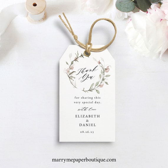 Favor Tag Template, Blush Floral, Greenery, Wedding Favor Tag, Printable, Editable, Rectangular, Templett INSTANT Download