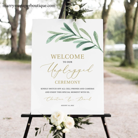 Unplugged Ceremony Sign Template, Greenery Leaf, Instant Download, Templett, Editable & Printable, Try Before Purchase