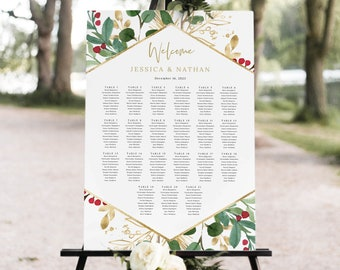 Wedding Seating Chart Template, Winter Wedding, Seating Plan, Seating Sign, Printable, Poster, Editable, Templett INSTANT Download