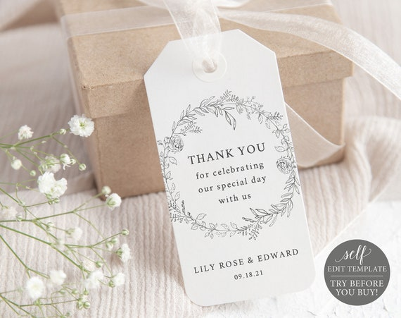 Thank You Favor Tag Template, TRY BEFORE You BUY, Botanical Floral, Self Edit Instant Download