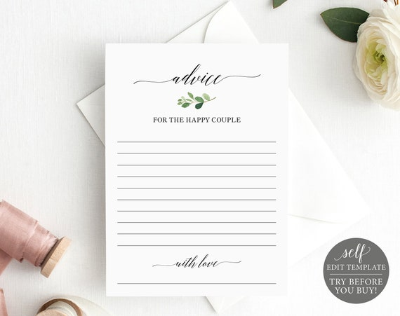 Advice Card Template, TRY BEFORE You BUY, 100% Editable  Instant Download, Greenery Leaf