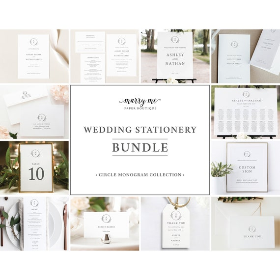 Wedding Template Bundle, Templett Instant Download, Wedding Template Kit, Circle Monogram Design, Wedding Bundle Templates, Demo Available