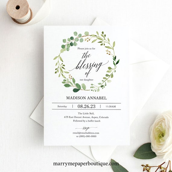 Blessing Invitation Template, Greenery, Editable Instant Download, TRY BEFORE You BUY