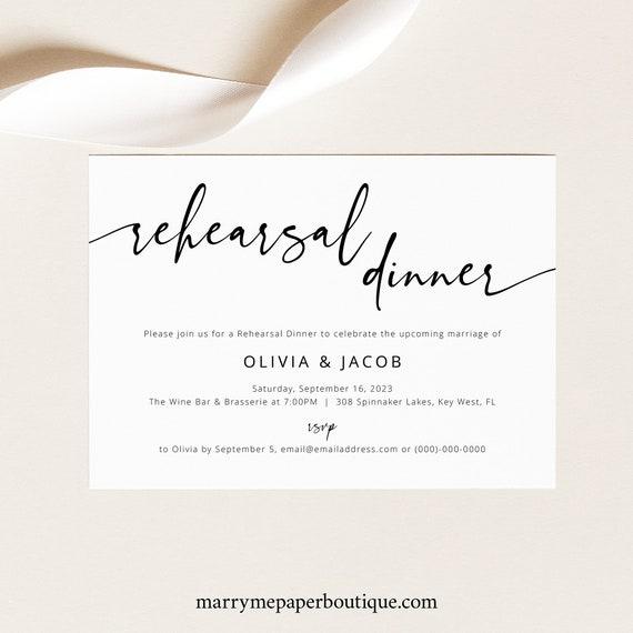 Modern Rehearsal Dinner Invitation Template, Modern Calligraphy, Wedding Rehearsal Invite, Printable, Editable, Templett INSTANT Download