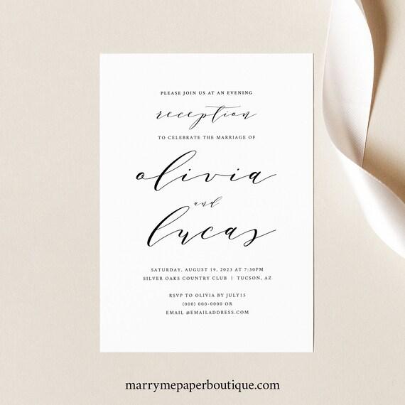 Reception Invitation Template, Elegant Calligraphy, Wedding Reception Evening Invitation, Printable, Editable, Templett INSTANT Download