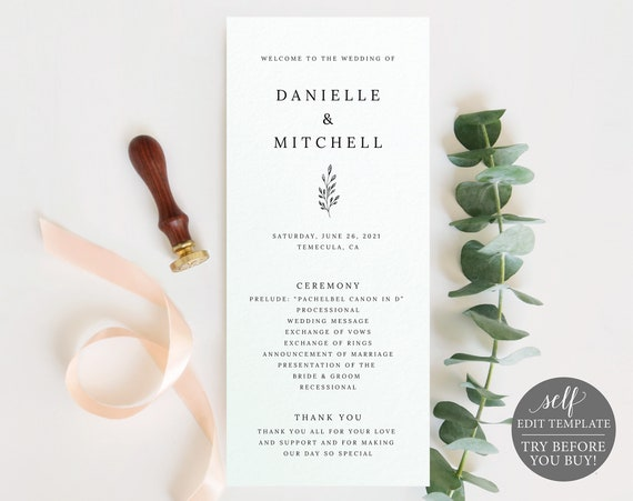 Wedding Program Template, Formal Botanical, Self Edit Instant Download, TRY BEFORE You BUY