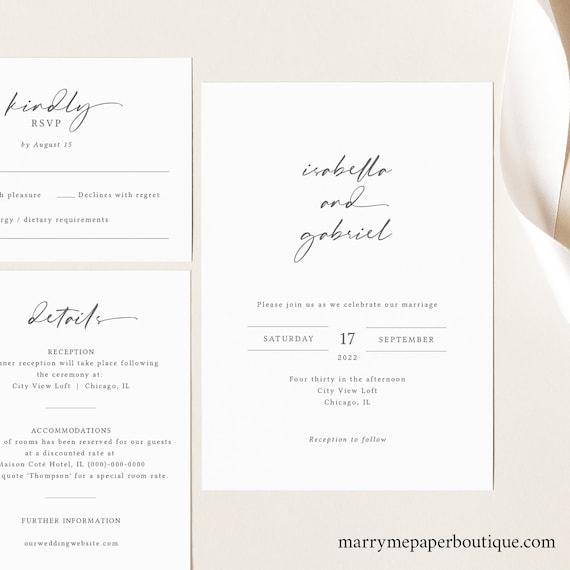Wedding Invitation Template Set, Elegant Handwriting Style Font, Editable & Printable, Instant Download, Try Before You Buy